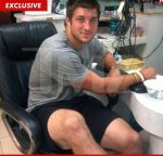 Even great football players get pedicures--and so does Tim Tebow! Original photo from TMZ.